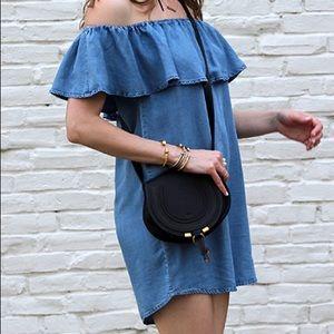 Chambray off shoulder dress